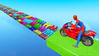 Homem-Aranha Parkour com Limusines Tratores Motos Ônibus Carros pista de obstáculos Gta 5 stream 1