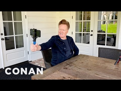 Conan Learns How To Use A Selfie Stick