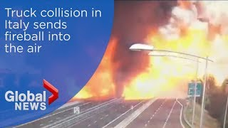 Dramatic video shows truck exploding into fireball in deadly Italian collision