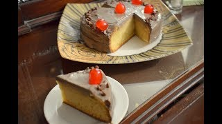 SIMPLE VANILA CAKE WITH CHOCOLATE FORESTING VERY EASY RECIPE BY LET