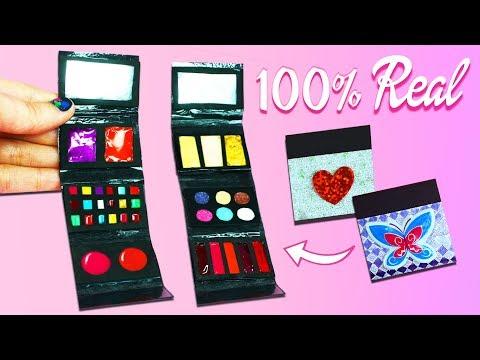100% Real Miniature Makeup Kit For Dolls - Bronzer, Lipstick, Blush, Eyeshadow  - simplekidscrafts