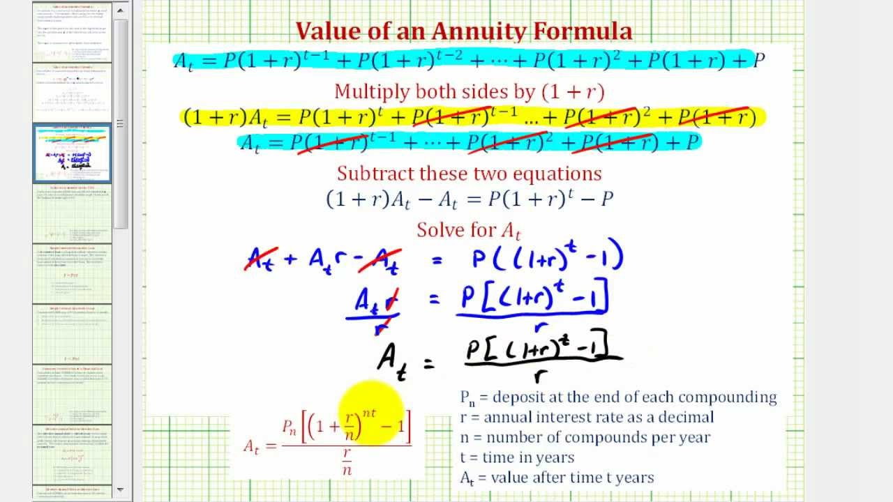 derive the value of an annuity formula compounded interest youtube
