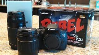 Canon EOS Rebel T5i SLR Digital Camera 18-55mm 75-300mm Bundle Unboxing