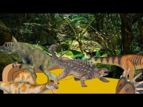 Five Little DINOSAURS Jumping On The Bed | Nursery Rhyme for Kids