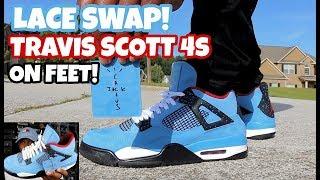 LACE SWAP ACTION!!! JORDAN 4 TRAVIS SCOTT CACTUS JACK ON FEET!!!