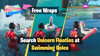 How to get *FREE* Neon Tropics Wrap in Fortnite | Search Unicorn Floaties at Swimming Holes