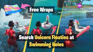 Como obter * FREE * Neon Tropics wrap em Fortnite | Pesquisa floaties de unicórnio em buracos de natação