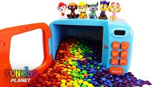 Learning Colors Videos For Kids: Paw Patrol Skye & Chase M&M Candy Surprise Toy Microwave & Blender