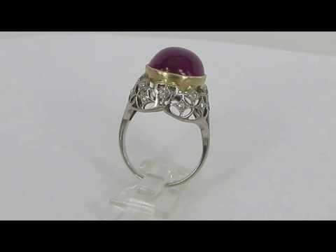 Antique 18.01ct Natural Untreated Ruby & 0.30ct Diamond Platinum& 18K Gold Ring