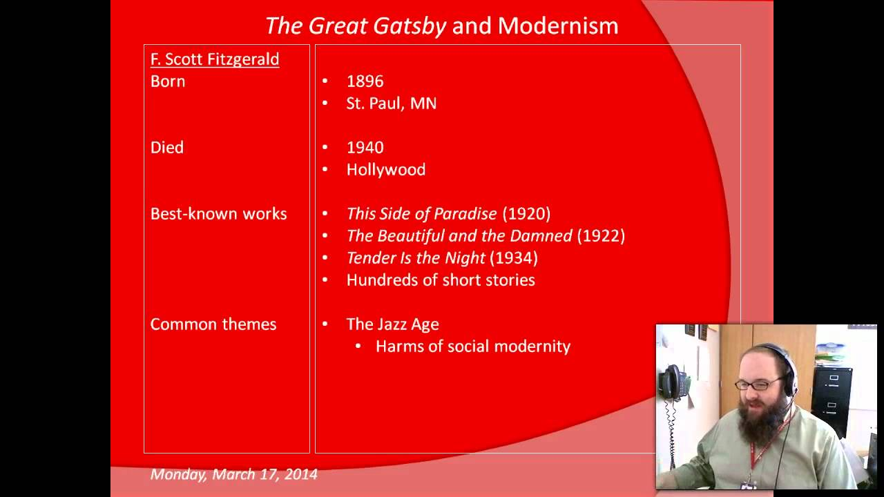 the great gatsby and modernism A gatsby moment is upon us the great gatsby is by far the most popular novel of f scott fitzgerald it embodies the 1920s, and has attained an iconic status, both.