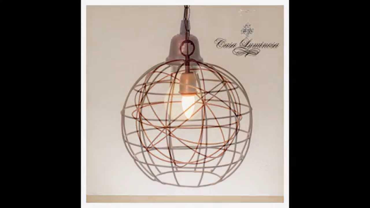 Lamparas ara as veladores colgantes artesanales en alambre y hierro casa luminosa youtube - Como hacer lamparas de techo artesanales ...