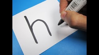 """How to turn Letter """"h"""" into a Cartoon HEN ! Fun with Alphabets Drawing for kids"""