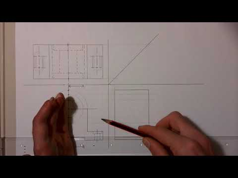 How to draw a sectional right view from a machine parts top and front view.