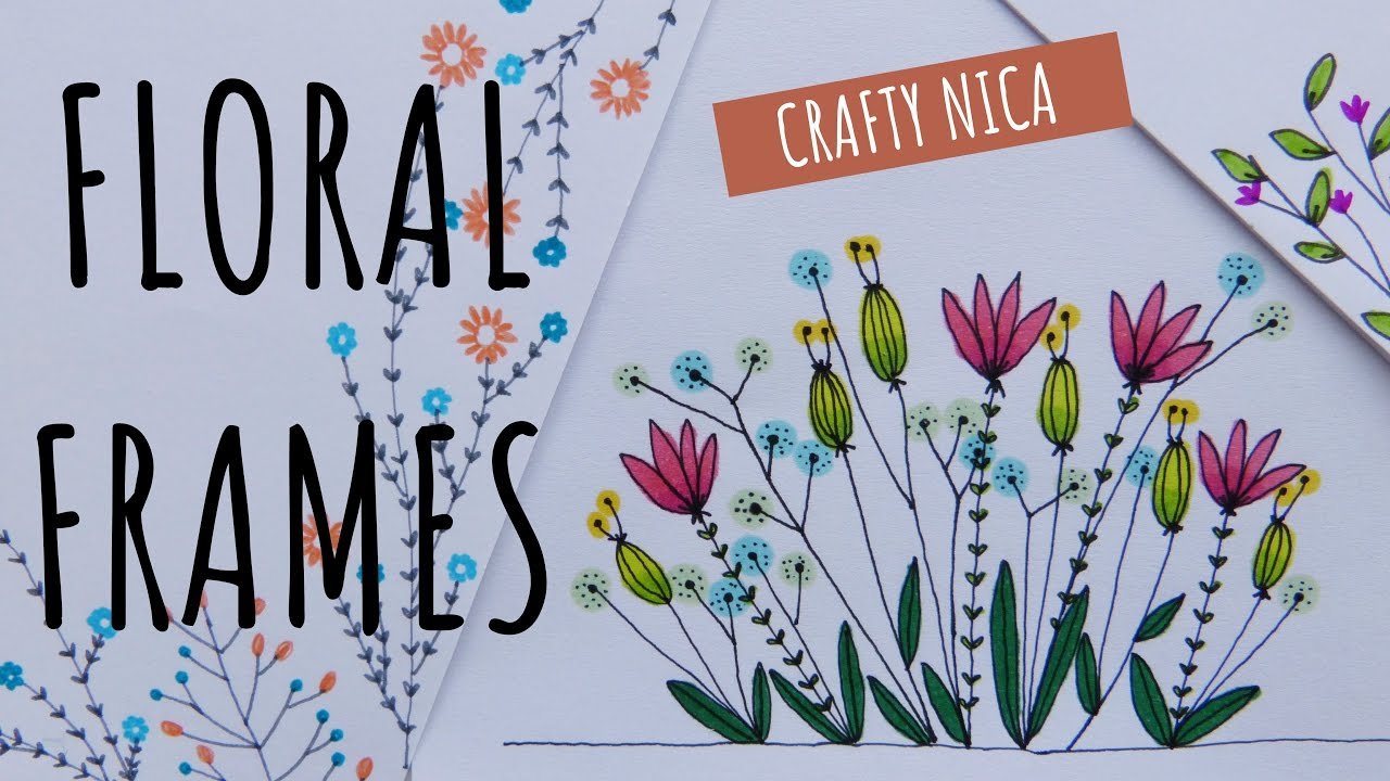 FLORAL BORDERS AND FRAMES 2 Borders For Cards School Projects Bullet Journal Flower Doodles