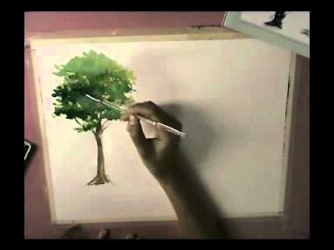 How to basic watercolor painting tree youtube for Basic painting