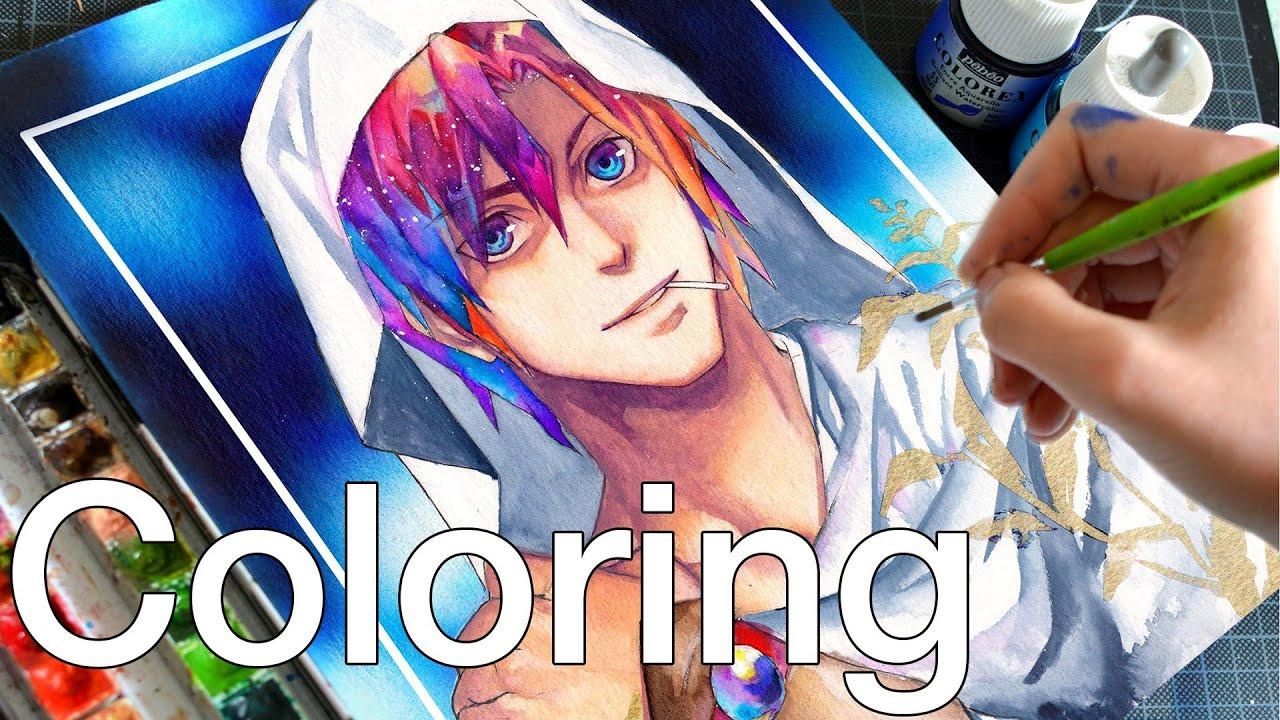 Girl Art Print Wallpaper 【manga Illustration】 Coloring With Colorex Watercolor