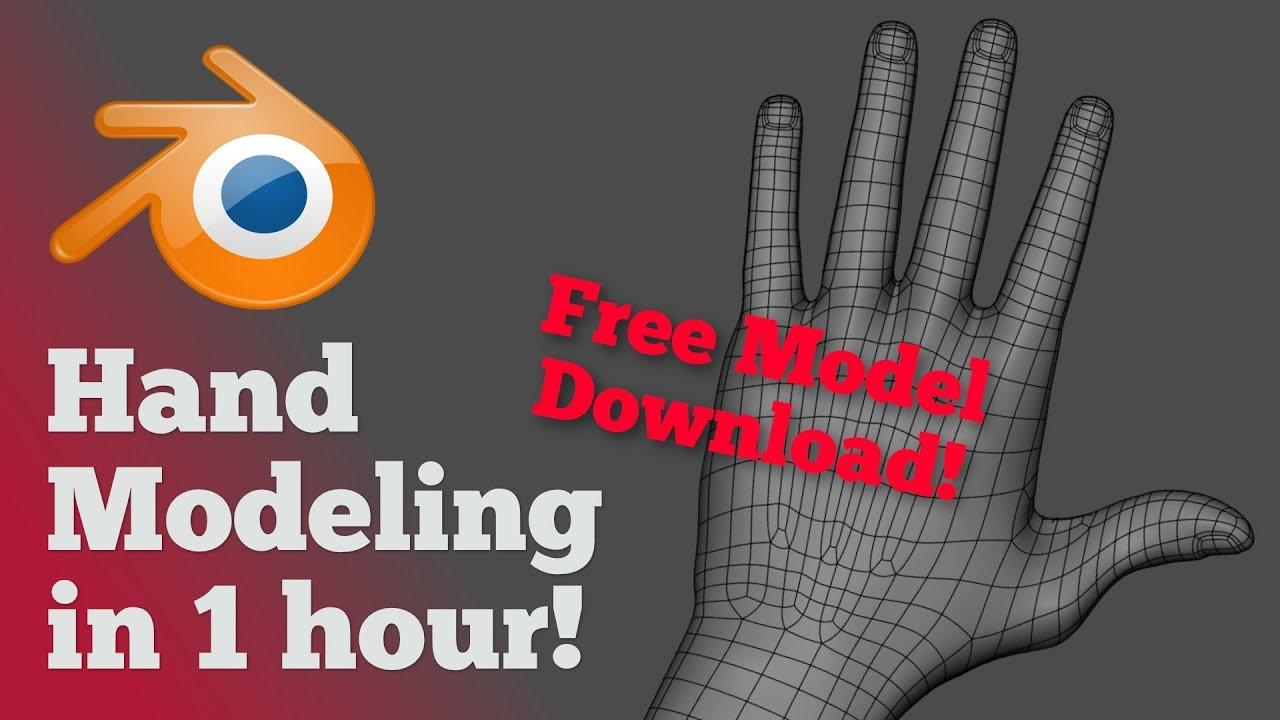 1h Hand Modeling in Blender Timelapse + Free Model Download