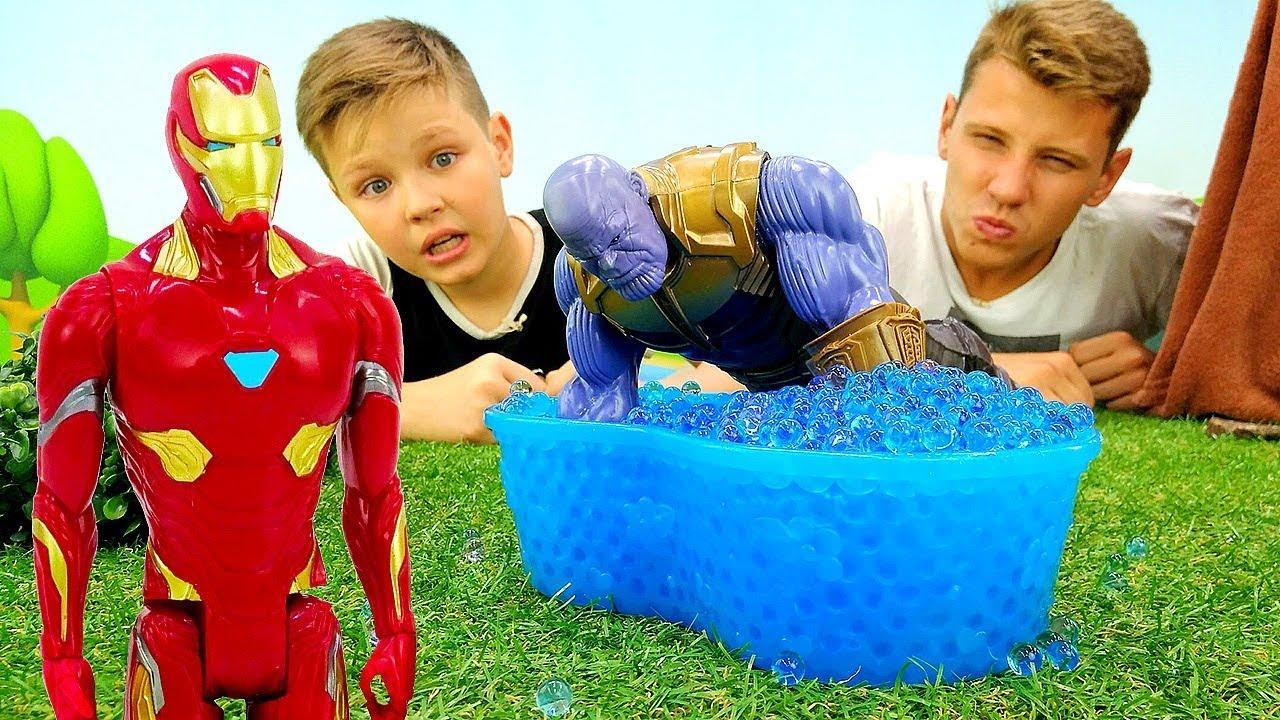 Железный Человек и ловушка для Таноса! Игры для мальчиков.