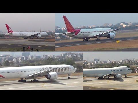 Turkish Airlines, Air India, Cathay Cargo & Emirates Beautiful Takeoff View at Mumbai Airport.