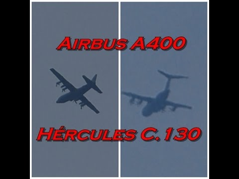 Airbus A400M Atlas, Lockheed C-130 Hércules. Vertical Leso. Full-HD.