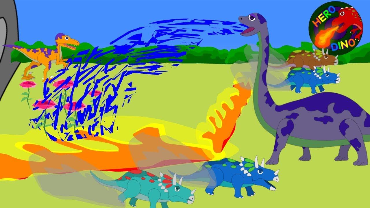 hero dino brontosaurus spray water to help velociraptor funny