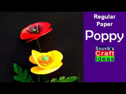 How to make  poppy flower using normal paper   Souvik's Craft Ideas