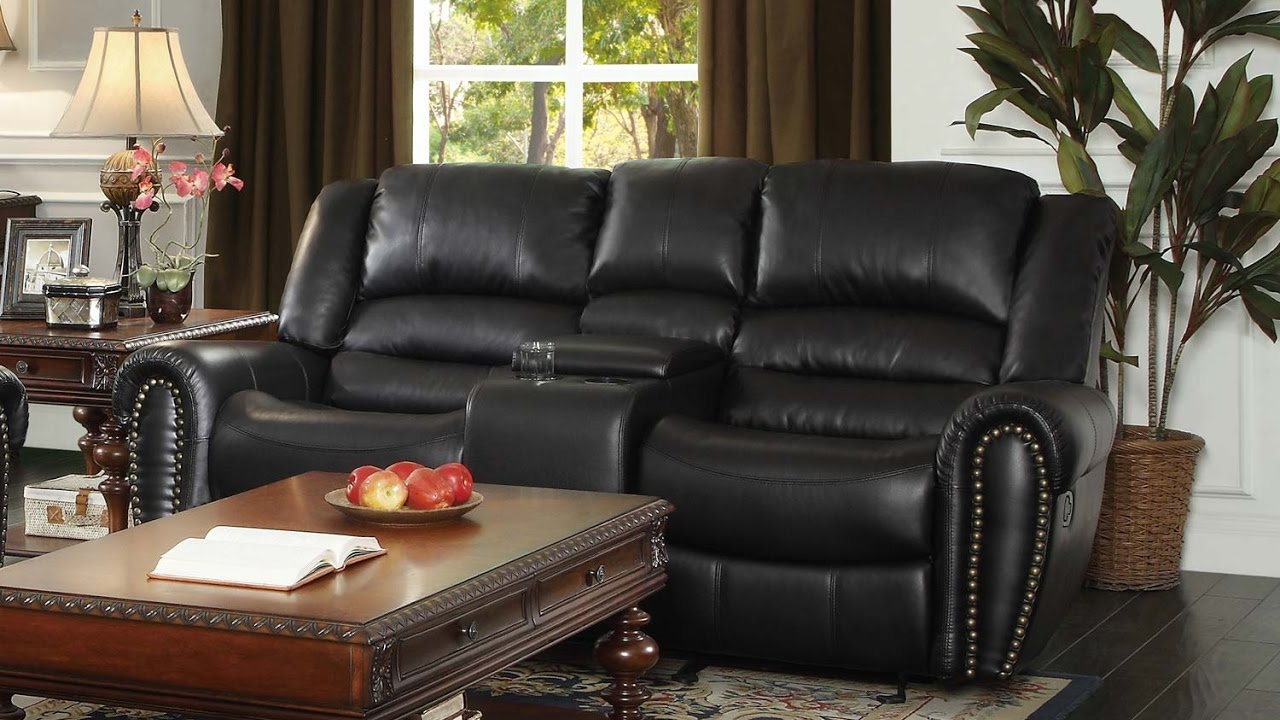 reclining center marille love console double seat homelegance he loveseat black with glider