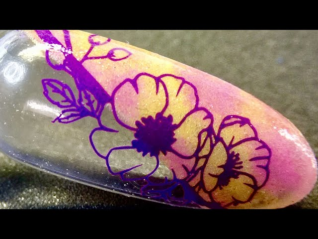 Live_ Flower block stamping nail art with purple sticky stamping polish and sheer pigment _SheModern