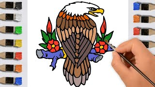 Bird Coloring Pages For Learning Colors - Eagle For Kids Preschool Learning