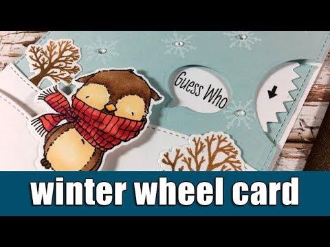 Winter card with peek-a-boo wheel
