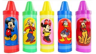 Learn Colors with Crayons Mickey Mouse Disney Weebles Minnie Nesting Dolls Matryoshka Stacking