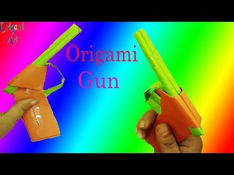 How to make a paper gun | Papercraft gun - Origami gun - Easy Tutorial Pistol