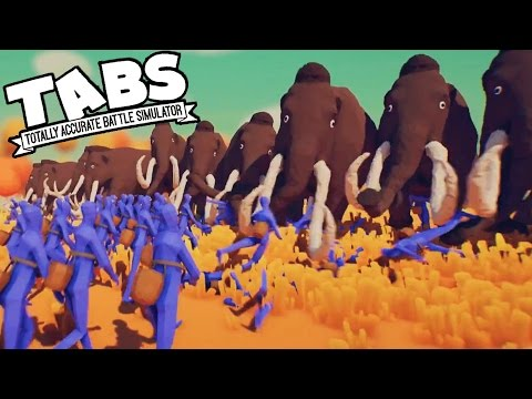 TABS Whooly MAMMOTH WALL, Flying Mammoths?  (Totally Accurate Battle Simulator Gameplay))