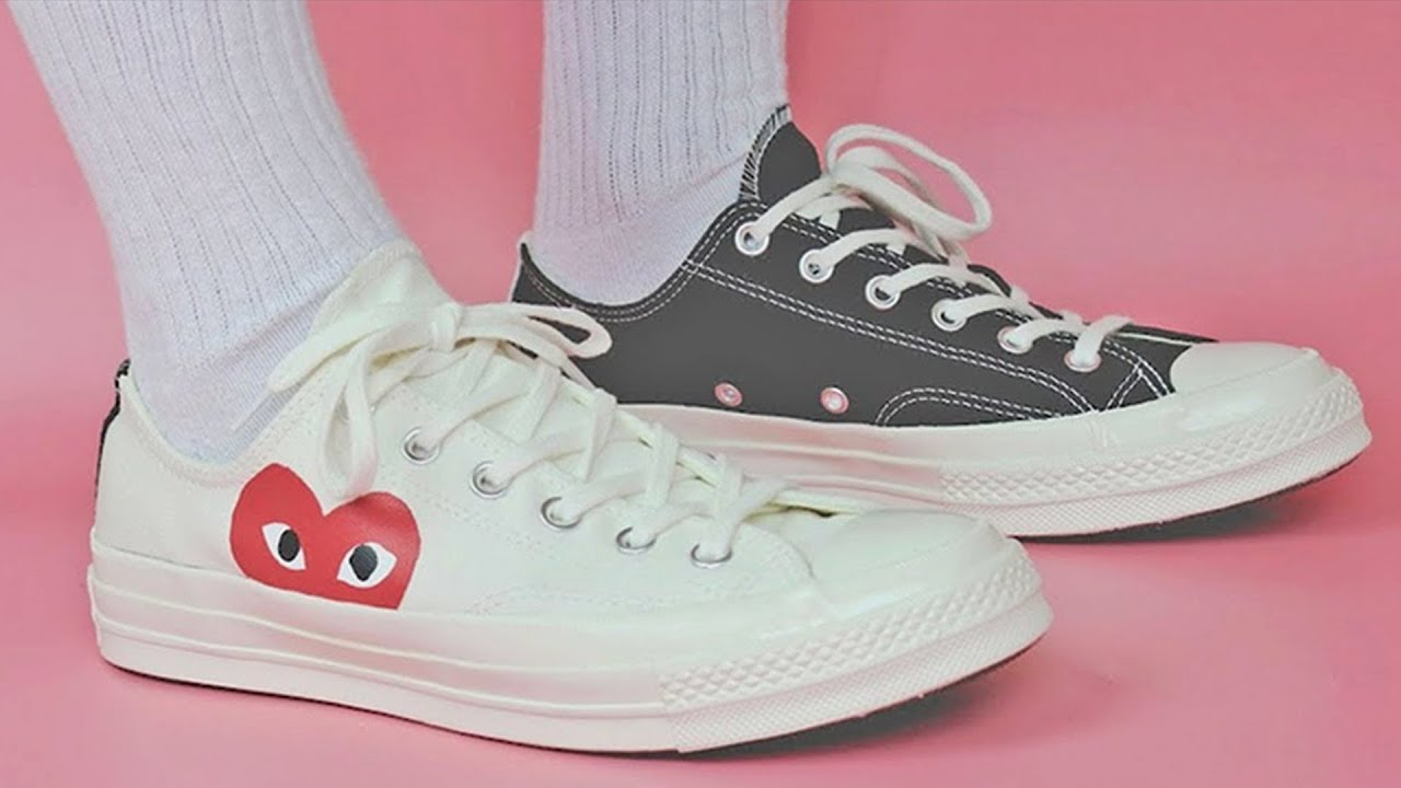 cdg converse white on feet