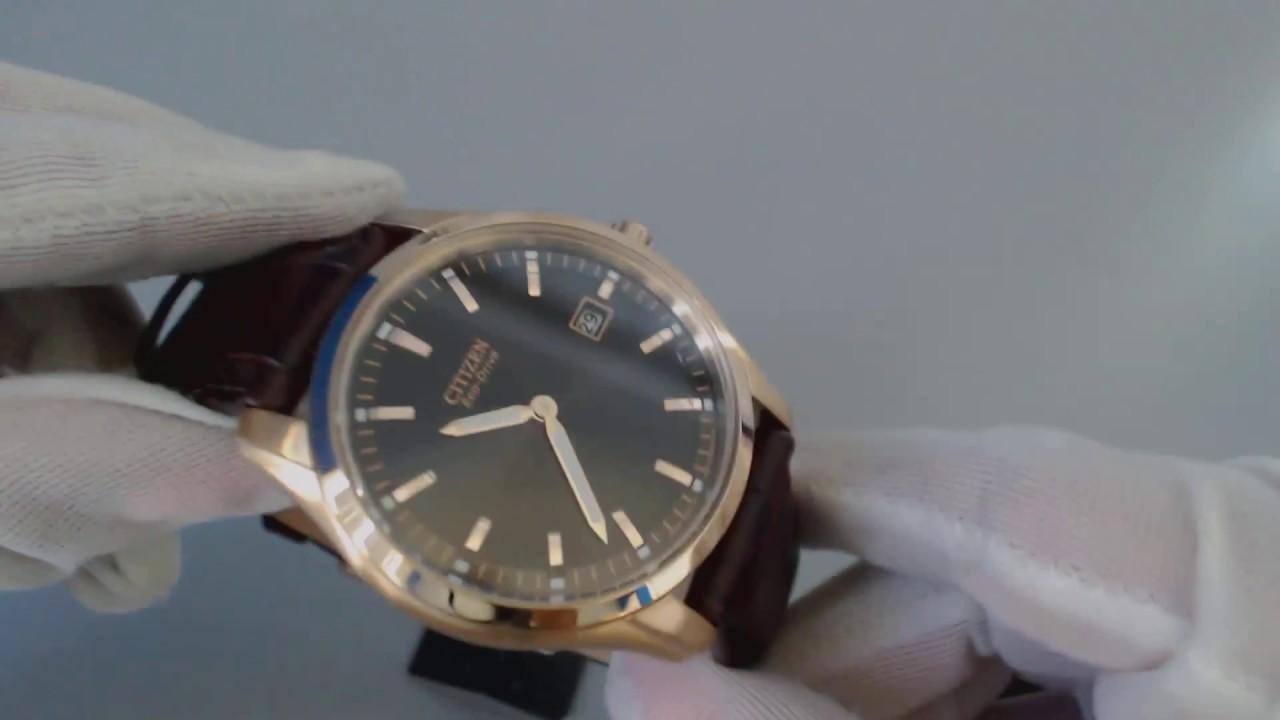 78a301df1 Men's Citizen Eco Drive Brown Leather Strap Watch AU1043 00E - YouTube