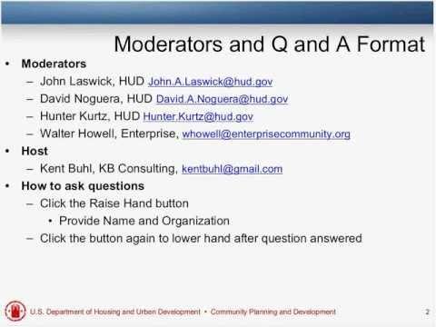 Open Forum Q&A with HUD Staff Webinar - 2/16/12