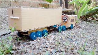 Ide Kreatif Membuat Mobil TRUCK KONTAINER Dari Kardus