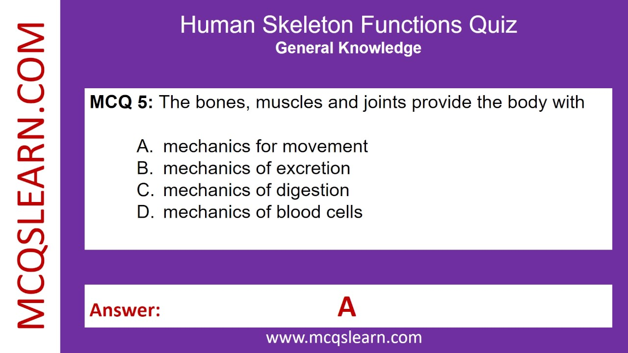 Human Skeleton Functions Quiz Mcqslearn Free Videos Youtube