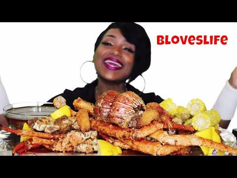 Seafood Boil 12 ⚠ Messy Eating, Smacking, King Crab Legs, Lobster, Jumbo Fried Shrimp