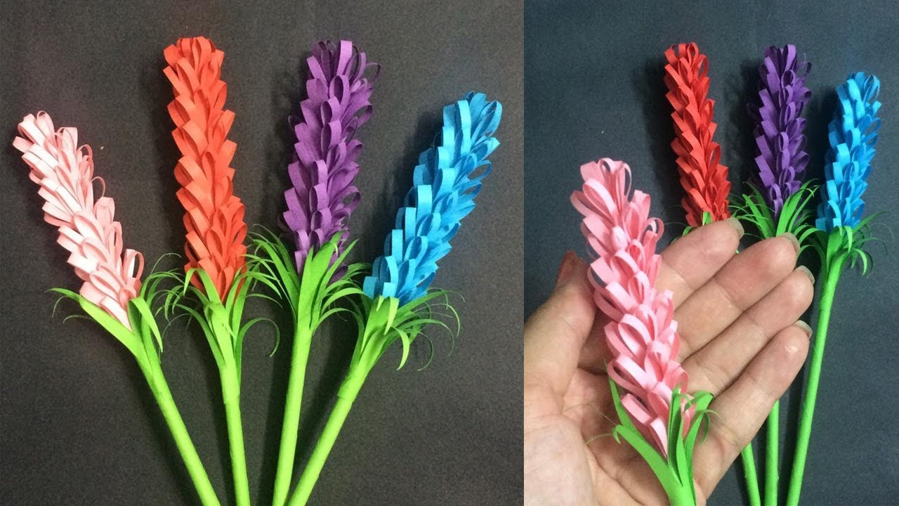 How To Make Small Lavender Paper Flower Making Paper Flowers Step By Step Diy Paper Crafts