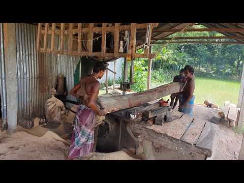 Mahogany Wood Cutting at Road Side Saw Mill Asia।Skilled Labor Cutting Mahogany Wood at New Saw Mill