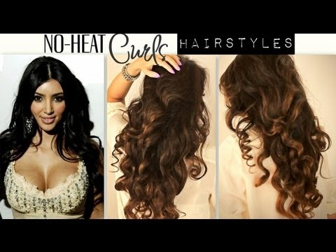 ★-no-heat-kim-kardashian-curls-waves-|-heatless-cute-school-hairstyles-for-medium-long-hair-tutorial