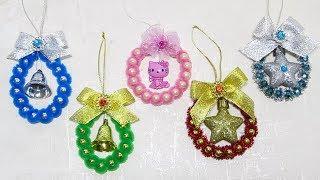 Новогодние поделки. Игрушки на ёлку своими руками. Очень простой способ новогоднего декора.