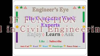 for civil engineers IF FUNCTION in M S EXCEL hindi
