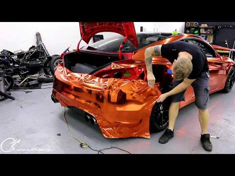 HOW TO VINYL WRAP Orange Chrome Rear Bumper With Removal  By @ckwraps
