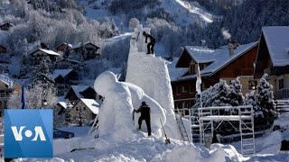 Snow Sculpture Competition Held in French Alps