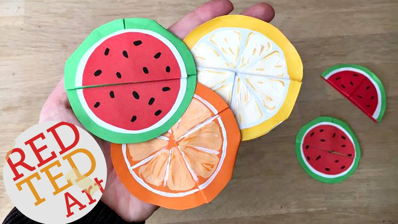 842279b37 Easy Melon Bookmarks (Summer Origami & Paper Crafts) - YouTube