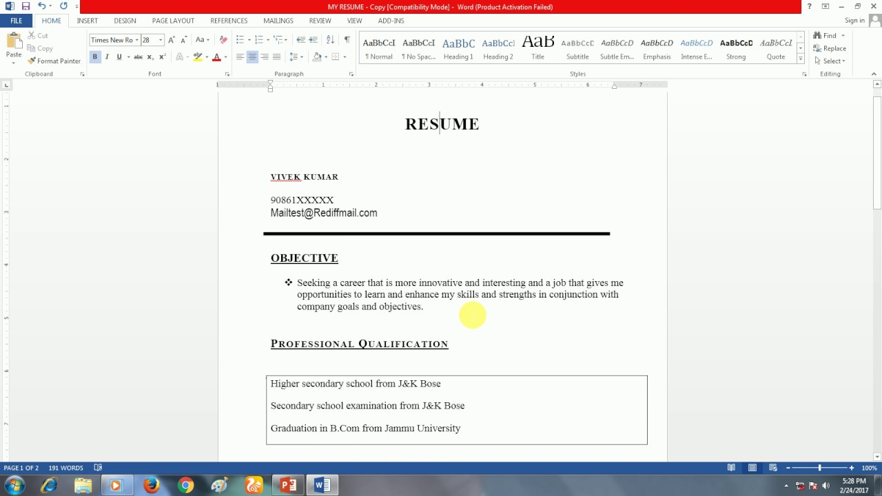 What is Resume How to make Simple Resume for Fresher and