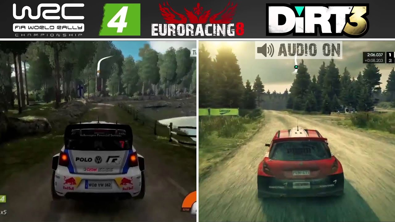 wrc 4 vs dirt 3 finland rally stage graphics sound comparison hd pc youtube. Black Bedroom Furniture Sets. Home Design Ideas
