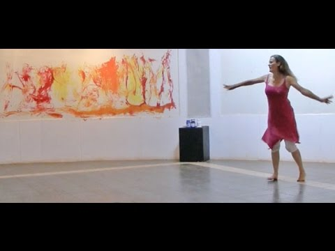 Catherine Marquette dance-paint performance in Auroville
